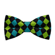 Kék zöld fekete rombuszok mintás csokornyakkendő