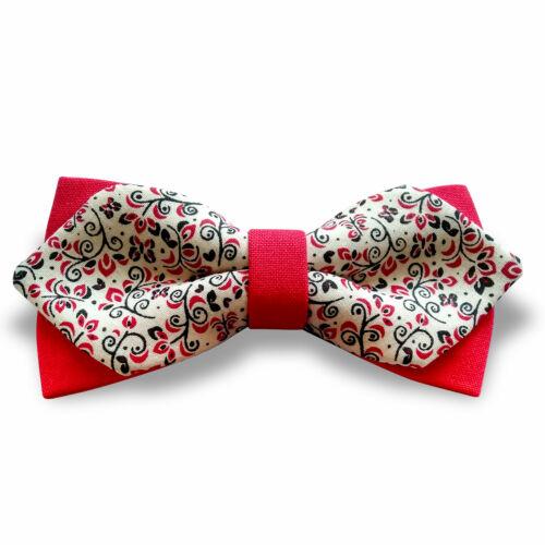 Piros-fehér-indás csokornyakkendő - matt