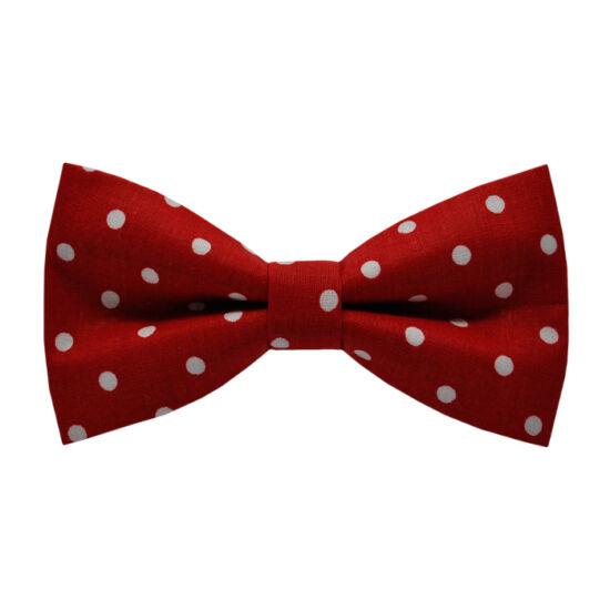 Fehér pöttyös, piros csokornyakkendő