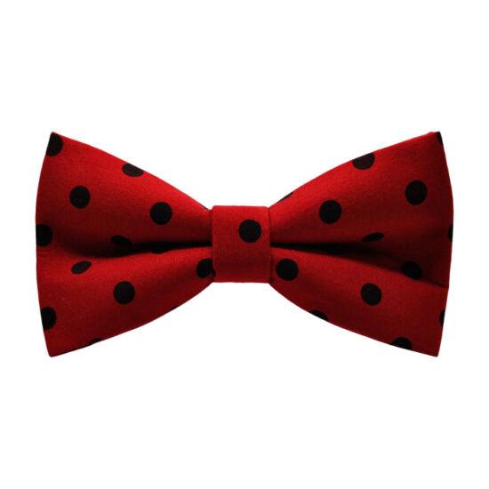 Fekete pöttyös, piros csokornyakkendő